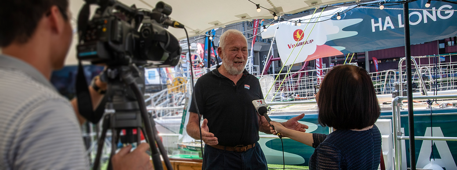Sir Robin Knox-Johnston being interviewed for CCTV