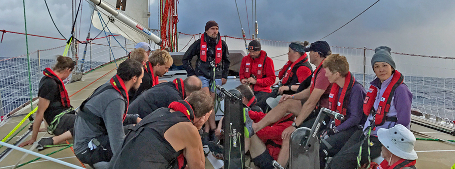 Qingdao crew on deck for skipper briefing