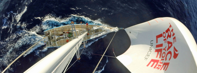 Mast shot on board Unicef during Atlantic Trade Winds Leg 1, Clipper 2017-18 Race