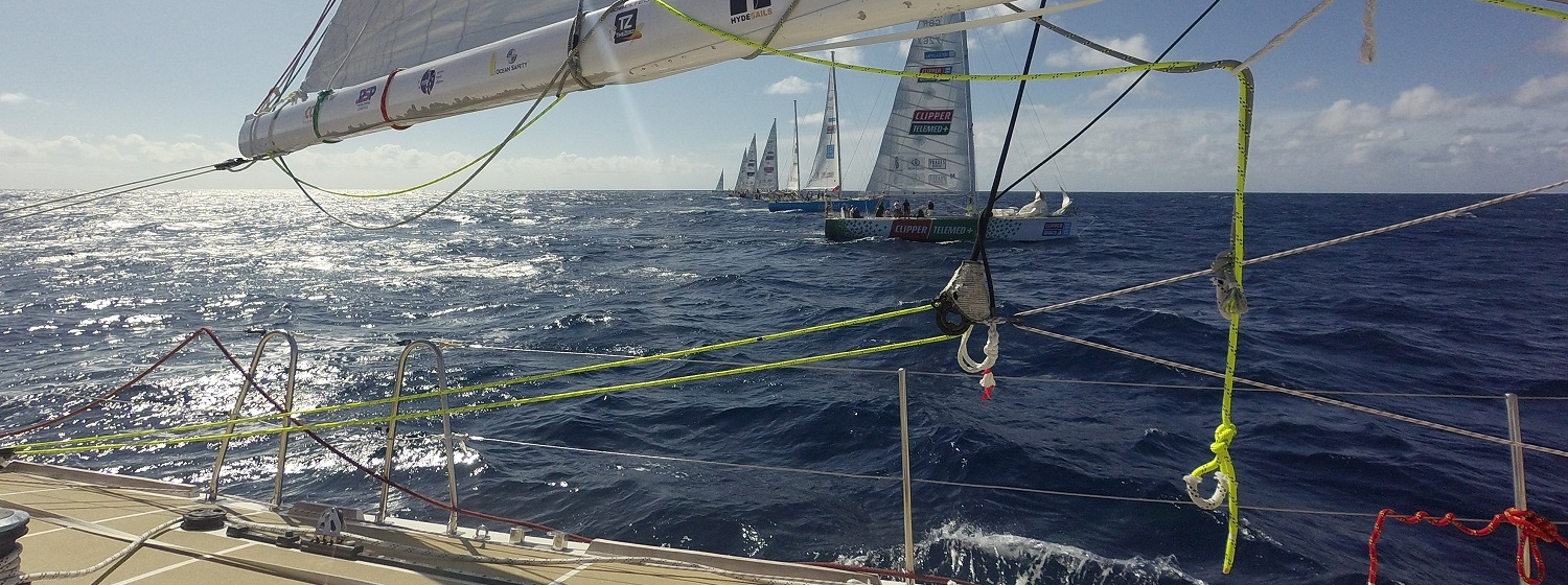The view of the LeMans race start from on board one of the yachts