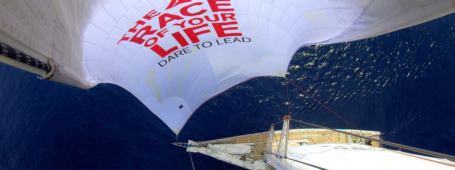 Dare To Lead spinnaker flying
