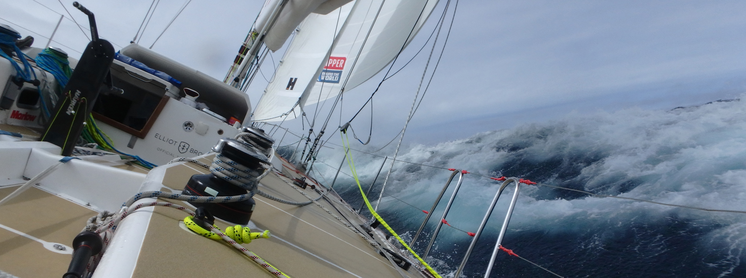 An on board view of a powered up Clipper 70 in bouncy waves