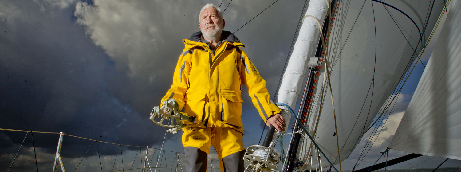 Sir Robin Knox-Johnston slowly reeling in the Rhum class