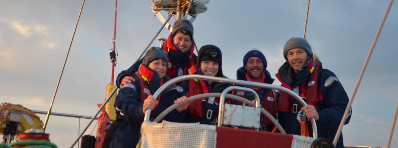 Sophia Mueller and training crew mates