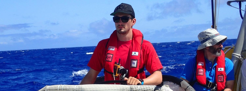 Seumas Kellock helming on board Unicef
