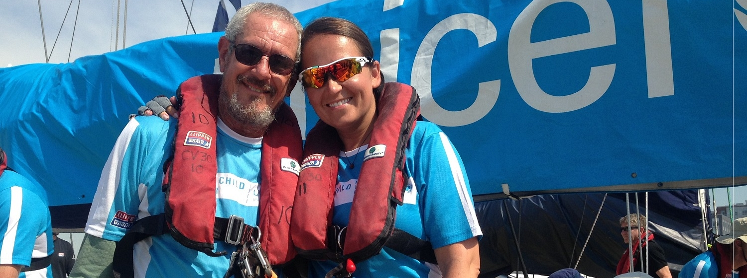 Tom Fisher and Marta Michalska pictured together on their Unicef team yacht