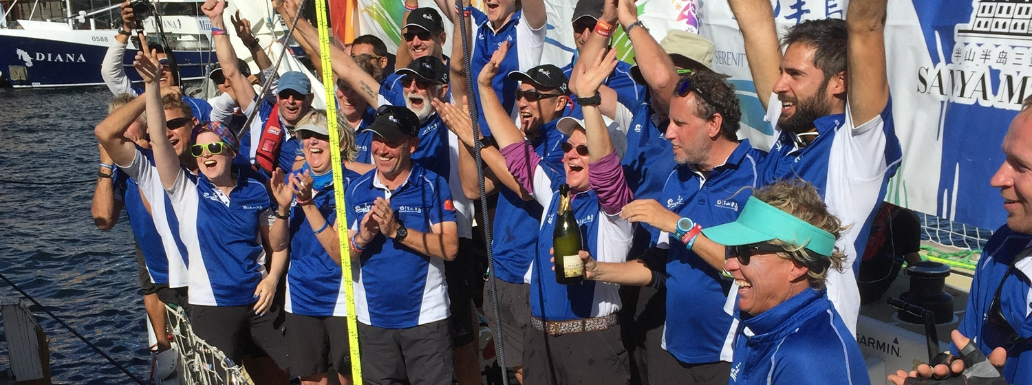 Wendy Tuck and the Sanya Serenity Coast crew celebrating their win in Hobart - Bruce Montgomery (003).jpg
