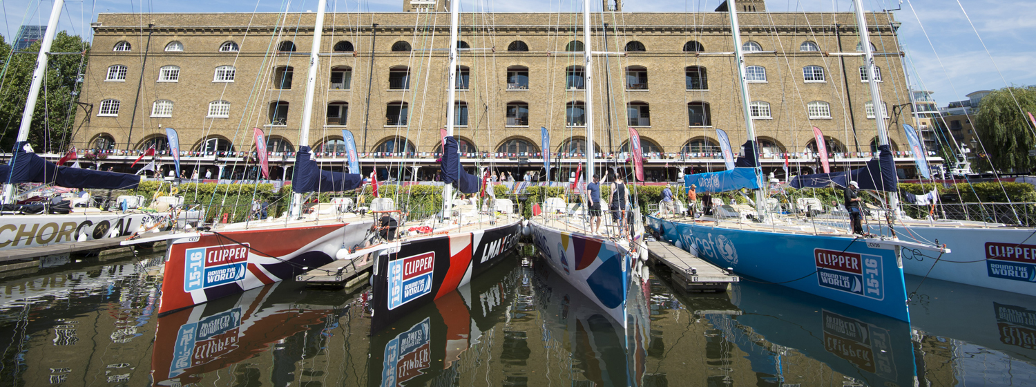 The Clipper Race fleet in St Katharine Docks, London