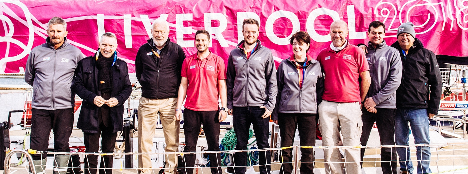 Vice Mayor of Liverpool Garry Millar with Sir Robin Knox-Johnston and Liverpool 2018 crew