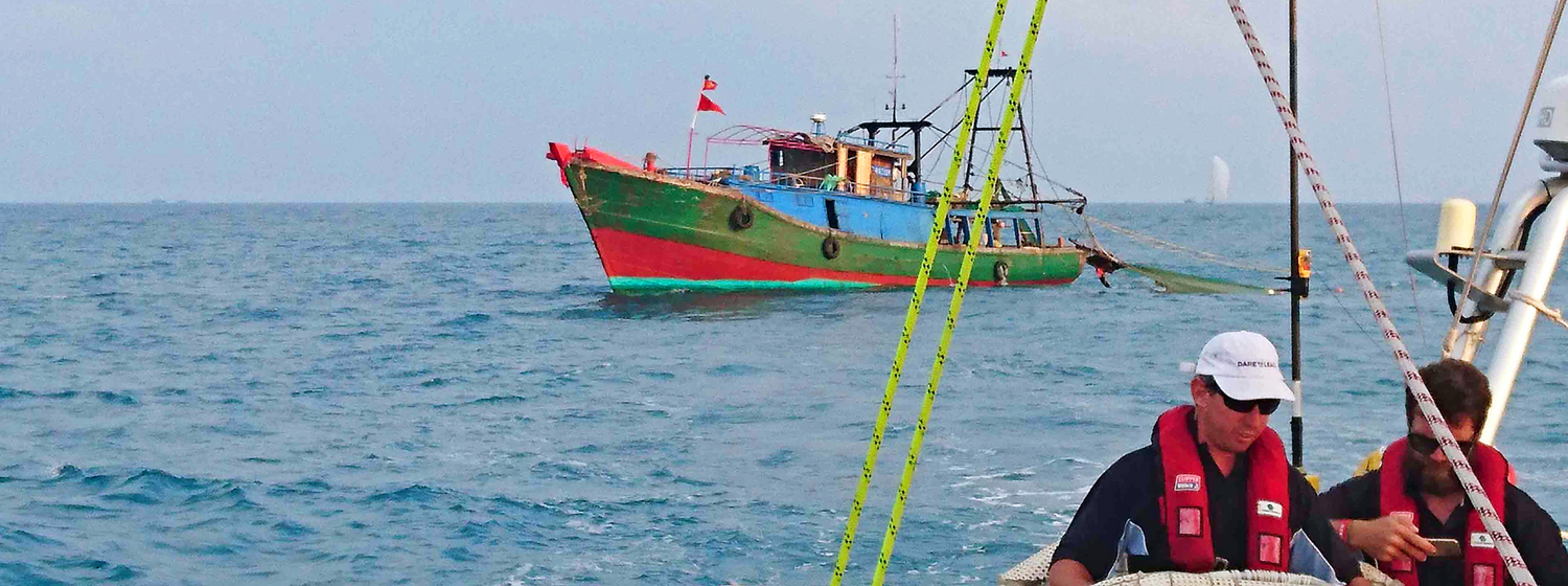 Fishing boat close to Dare To Lead during Race 8 to Qingdao