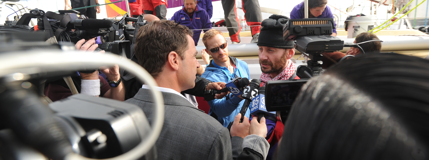 Clipper Race crew member being interviewed during the race