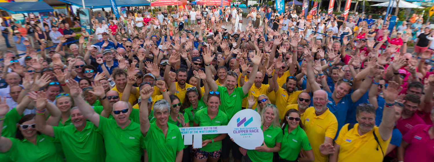Clipper Race crew with  the Key to the Whitsunday