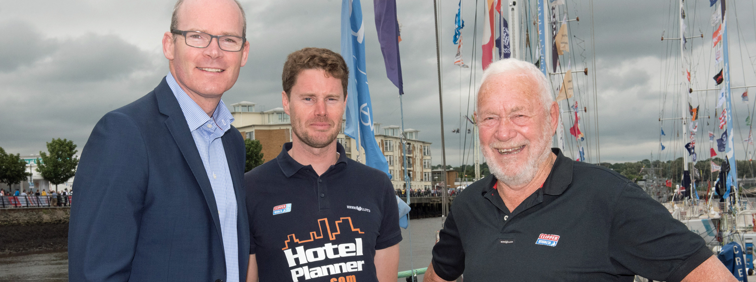 The Irish Tánaiste Simon Coveney with HotelPlanner.com Skipper Conall Morrison and Sir Robin Knox-Johnston