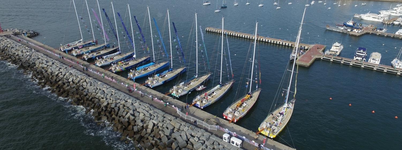The Clipper Race fleet in the Yacht Club Punta del Este