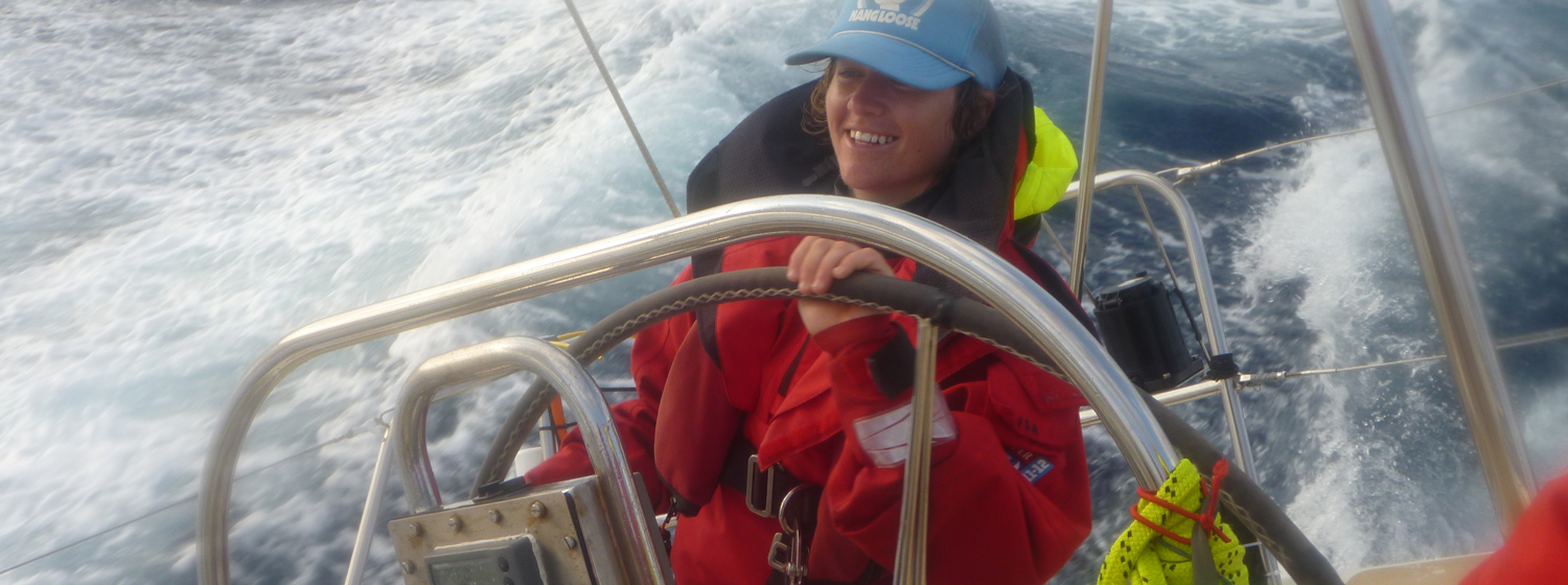 Lisa Blair helming on board Gold Coast Australia during Clipper 2011-12 Race