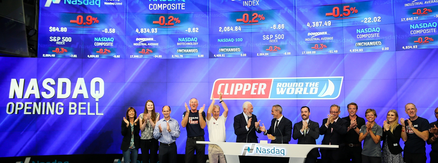 Clipper Race founders Sir Robin and William ring the Opening Bell at the New York Stock Exchange