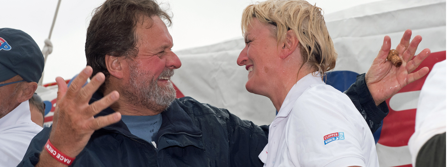 Clipper Race Crew Members Peter Hartigan and Louise Costello in Derry-Londonderry. Copyright Martin McKeown.