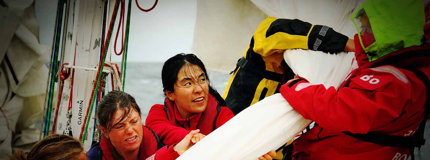 Clipper 2017-18 Race Qingdao Ambassador Helen Ma Hong in the North Pacific.
