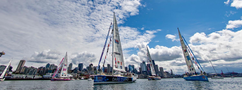 Clipper Race fleet departs Seattle © Ben Soloman