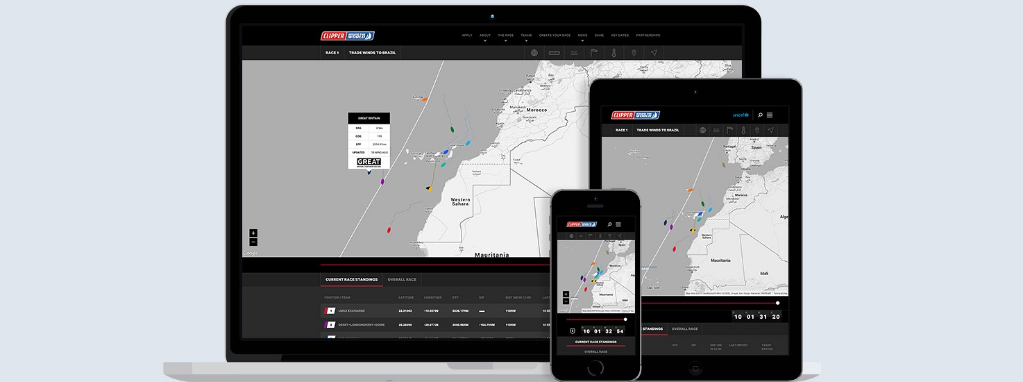 Clipper Race Viewer for phone, tablet and laptop
