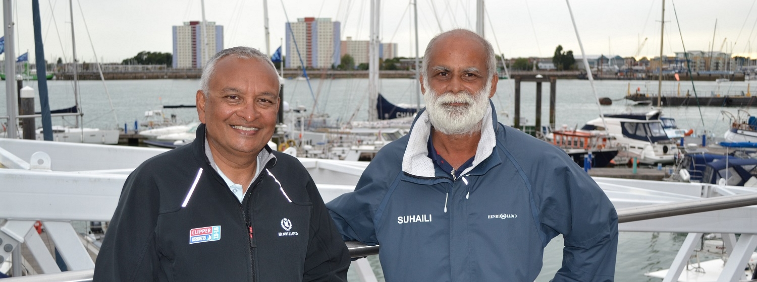 Clipper Race crew member Sunil Prabhakar with Commander Dilip Donde, the first Indian to sail solo around the world