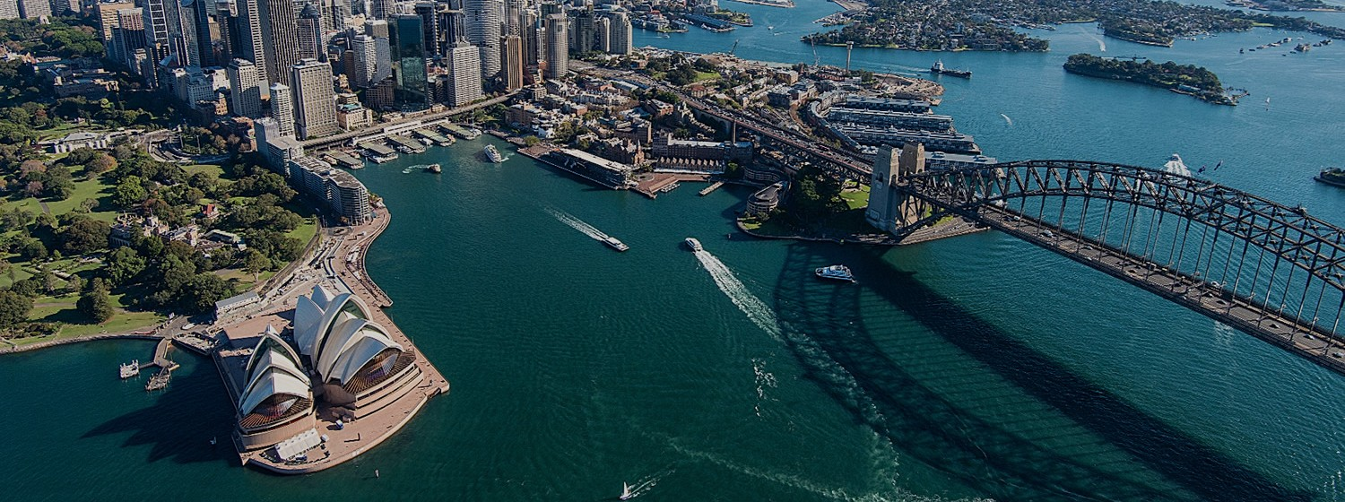 Helicopter image of Sydney Harbour